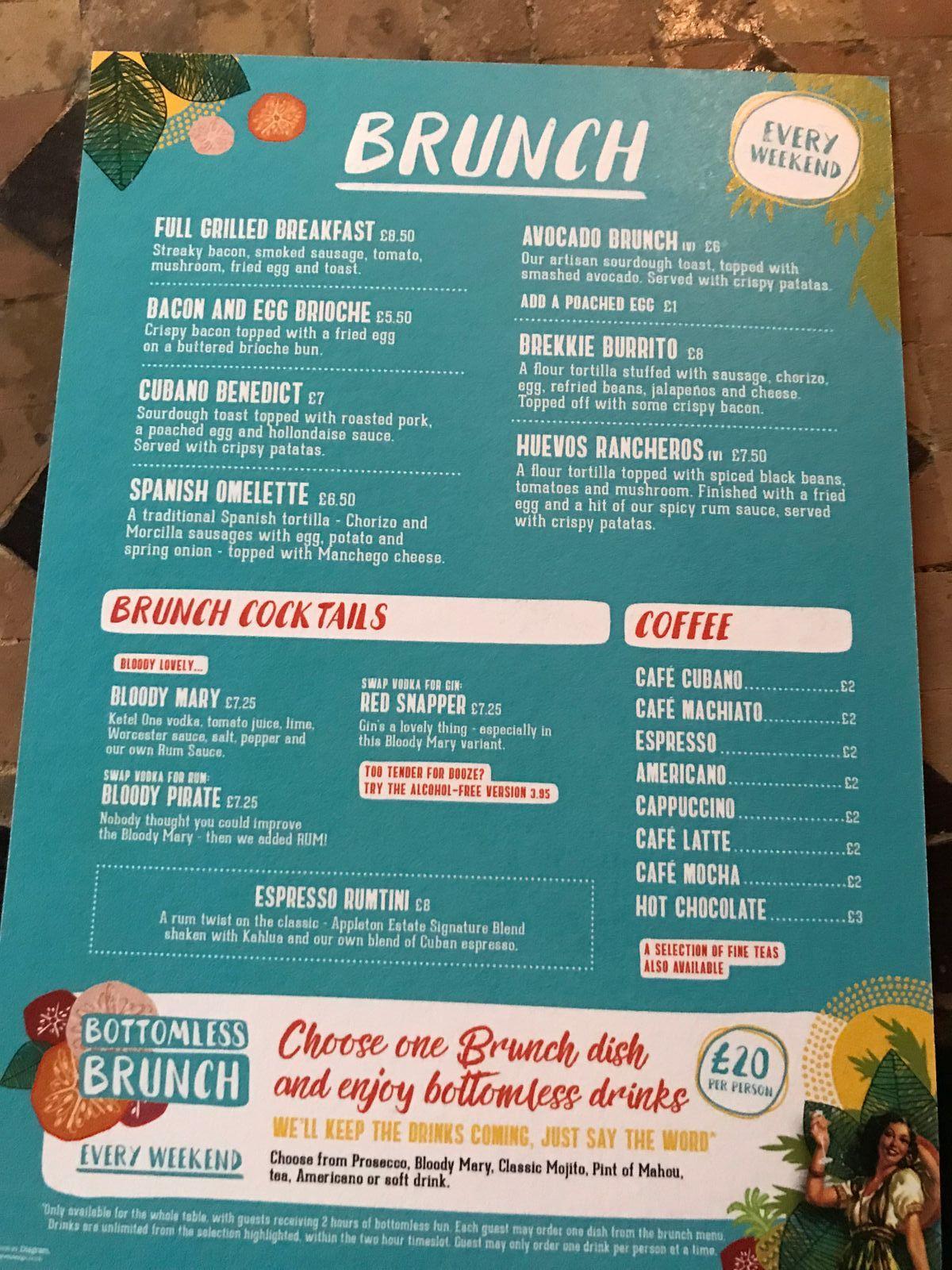 bottomless brunch menu revs de cuba cardiff