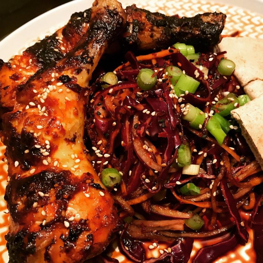 korean air fried chicken and asian slaw recipe