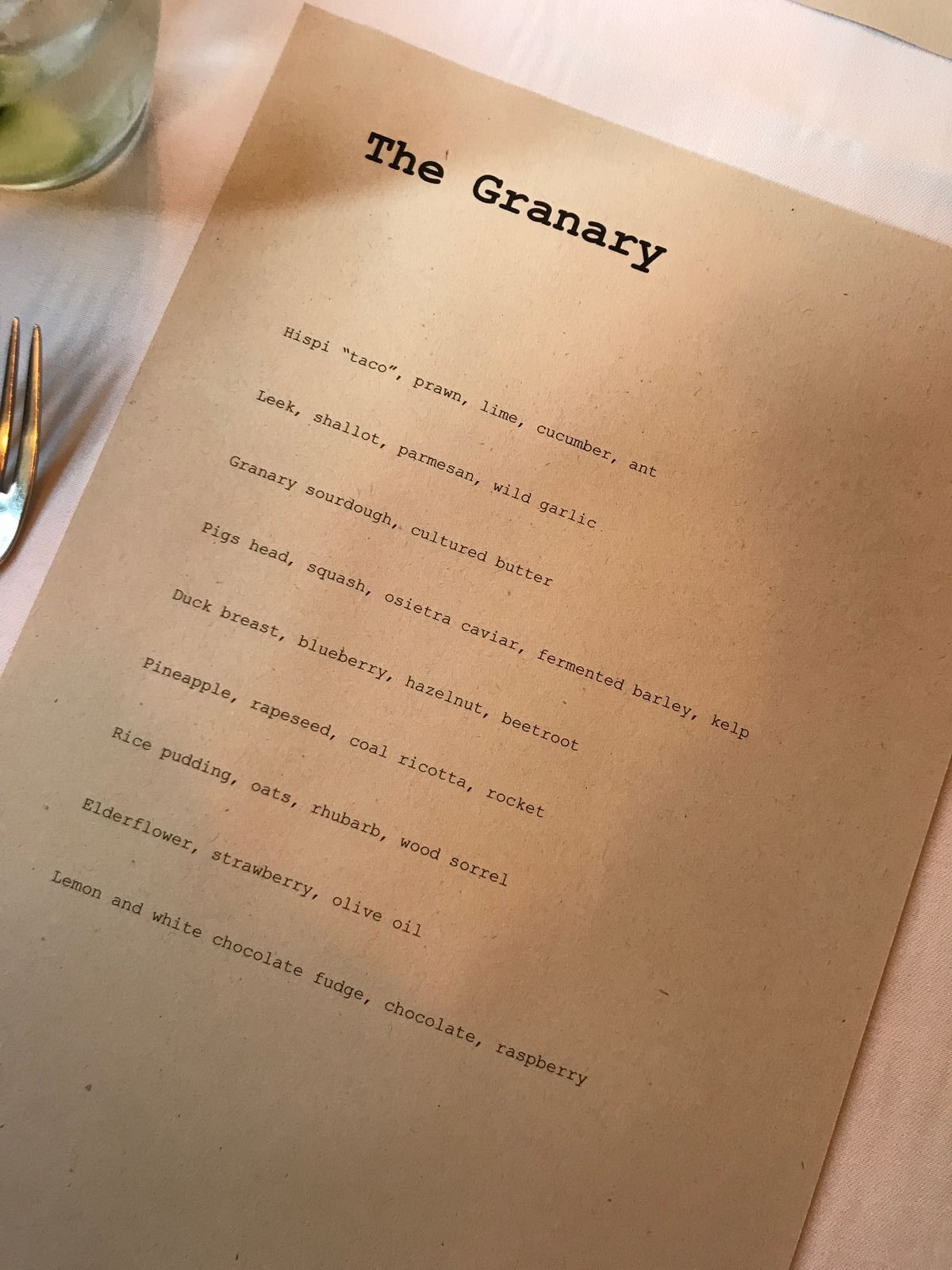 9 course tasting menu at The Granary - Newtown