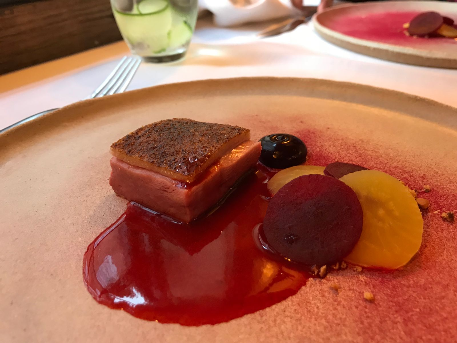 Duck with blueberry and beetroot main course The Granary Restaurant Powys