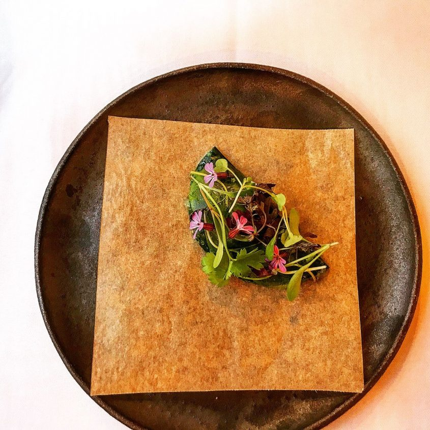 First course of tasting menu - hispi taco with prawn and ants at the Granary Restaurant in Newtown