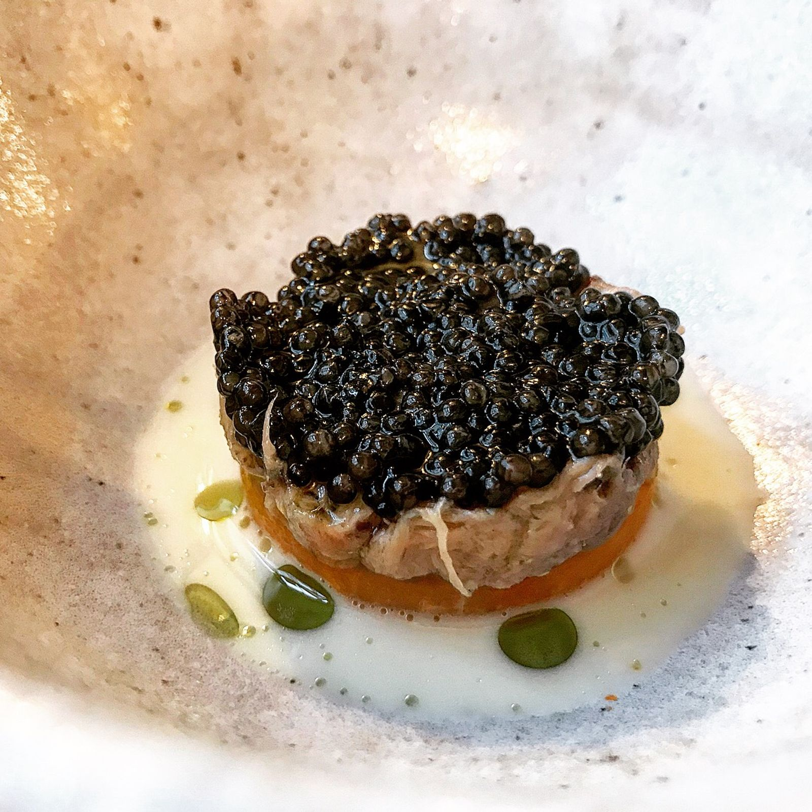 Pigs head with caviar - The Granary Newtown