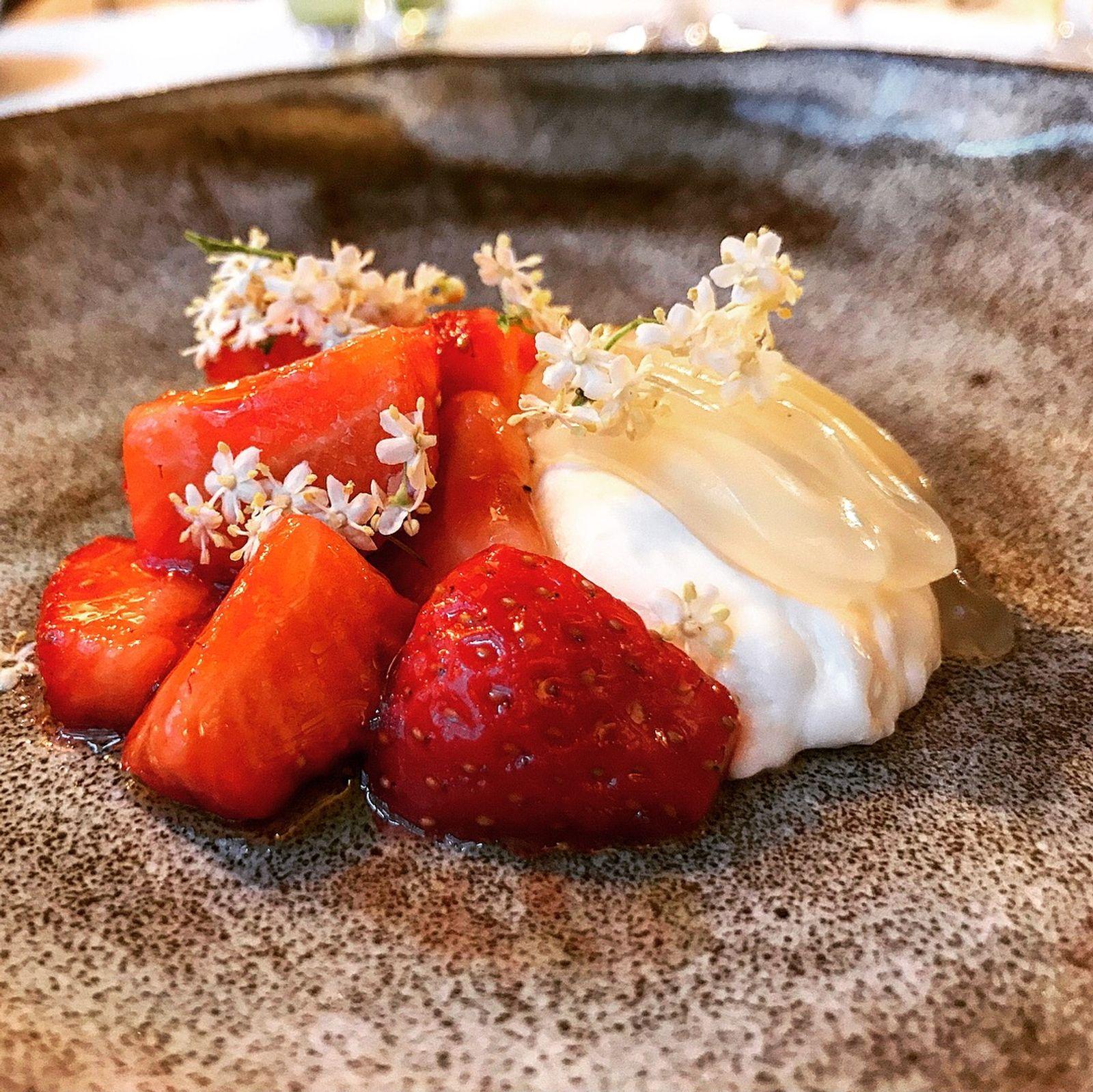 Strawberry and elderflower dessert at The Granary in Newtown