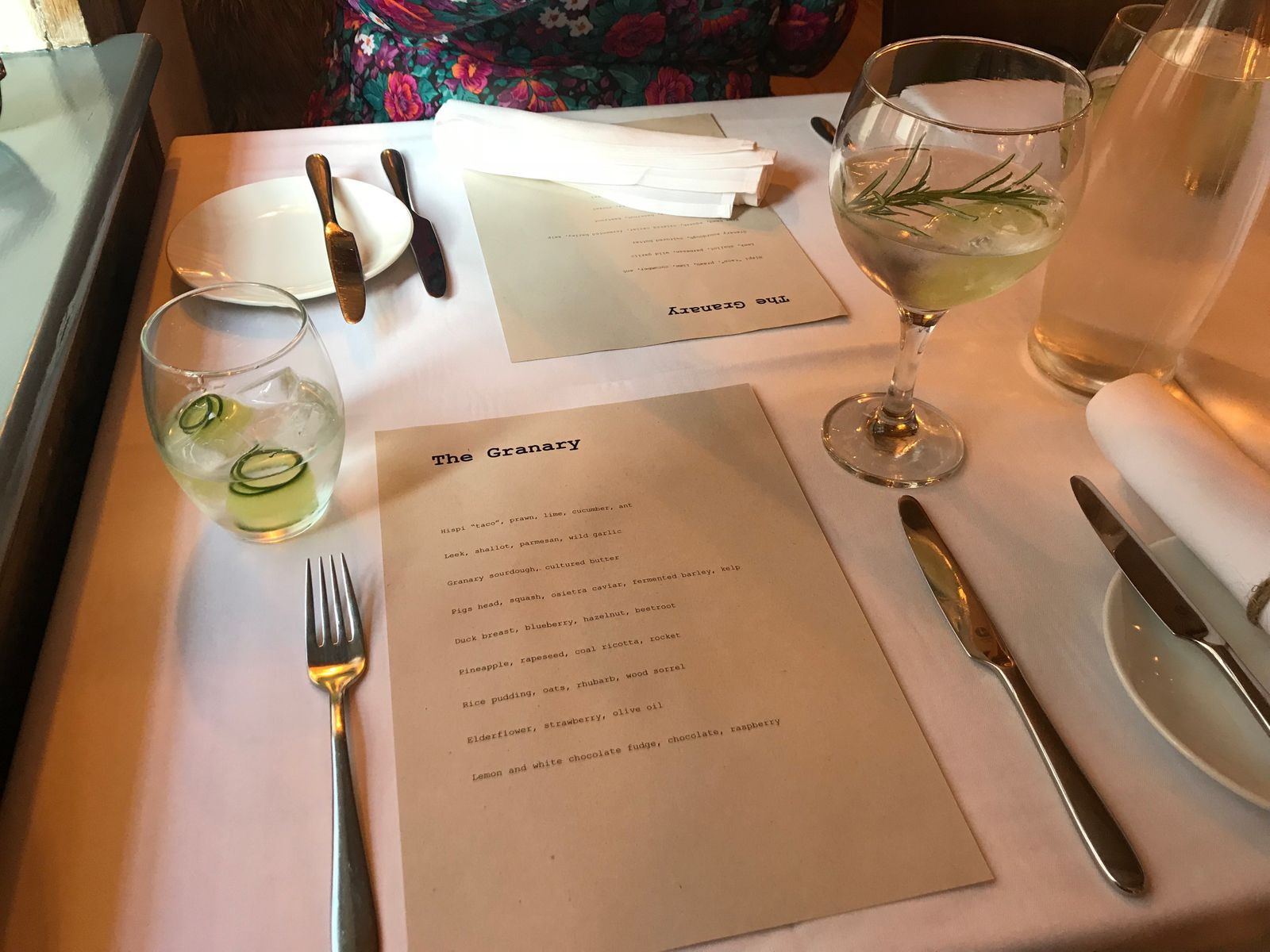 tasting menu and gin at the granary restaurant