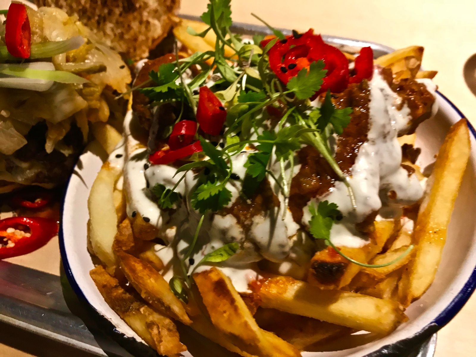 goat curry dirty fries at Burger Theory