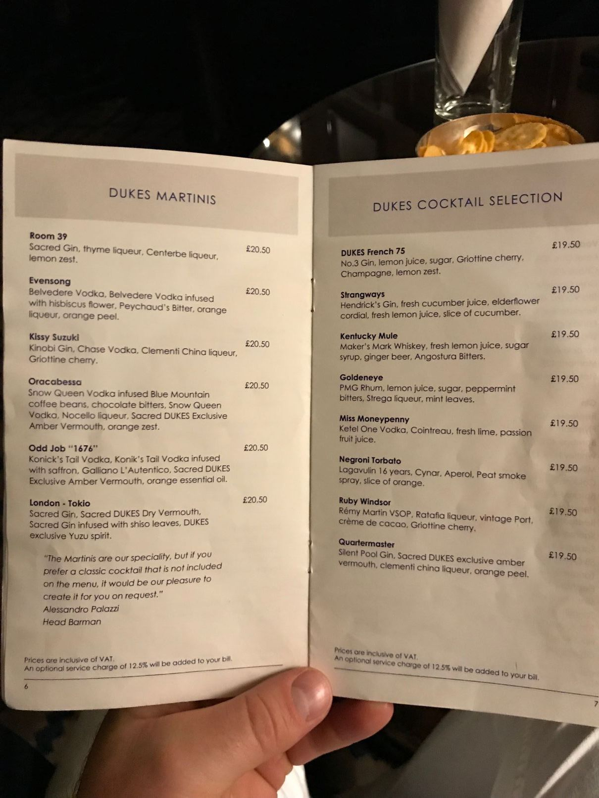 Cocktail and martini menu at Dukes Bar London
