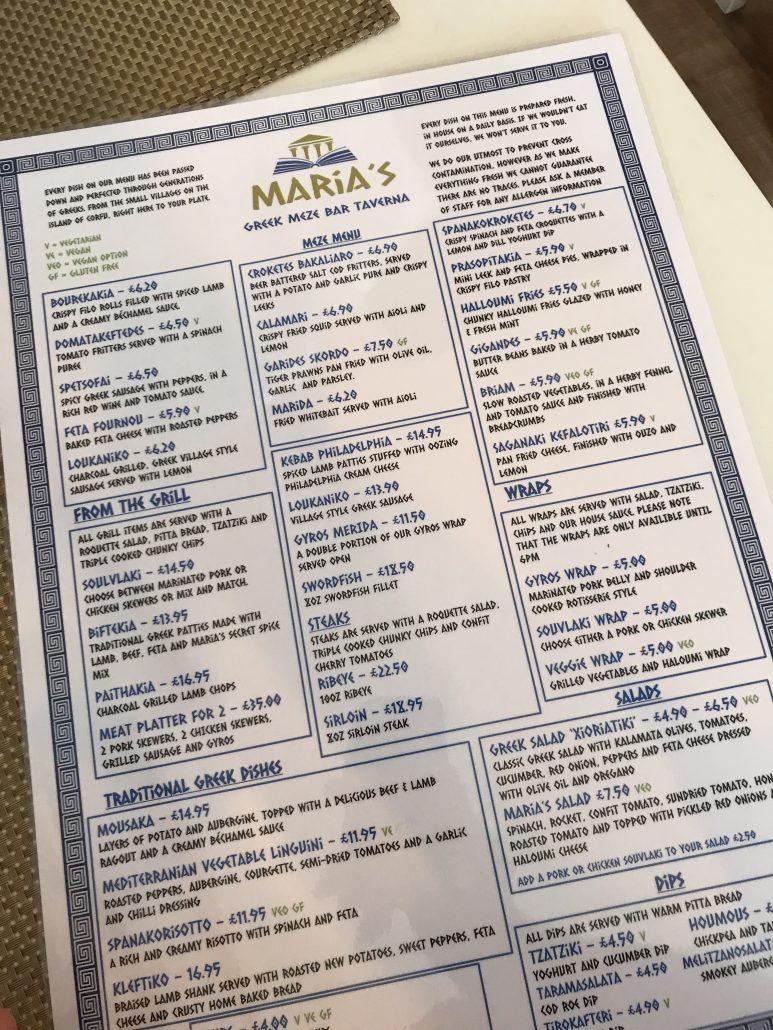 Marias Taverna Menu Cardiff
