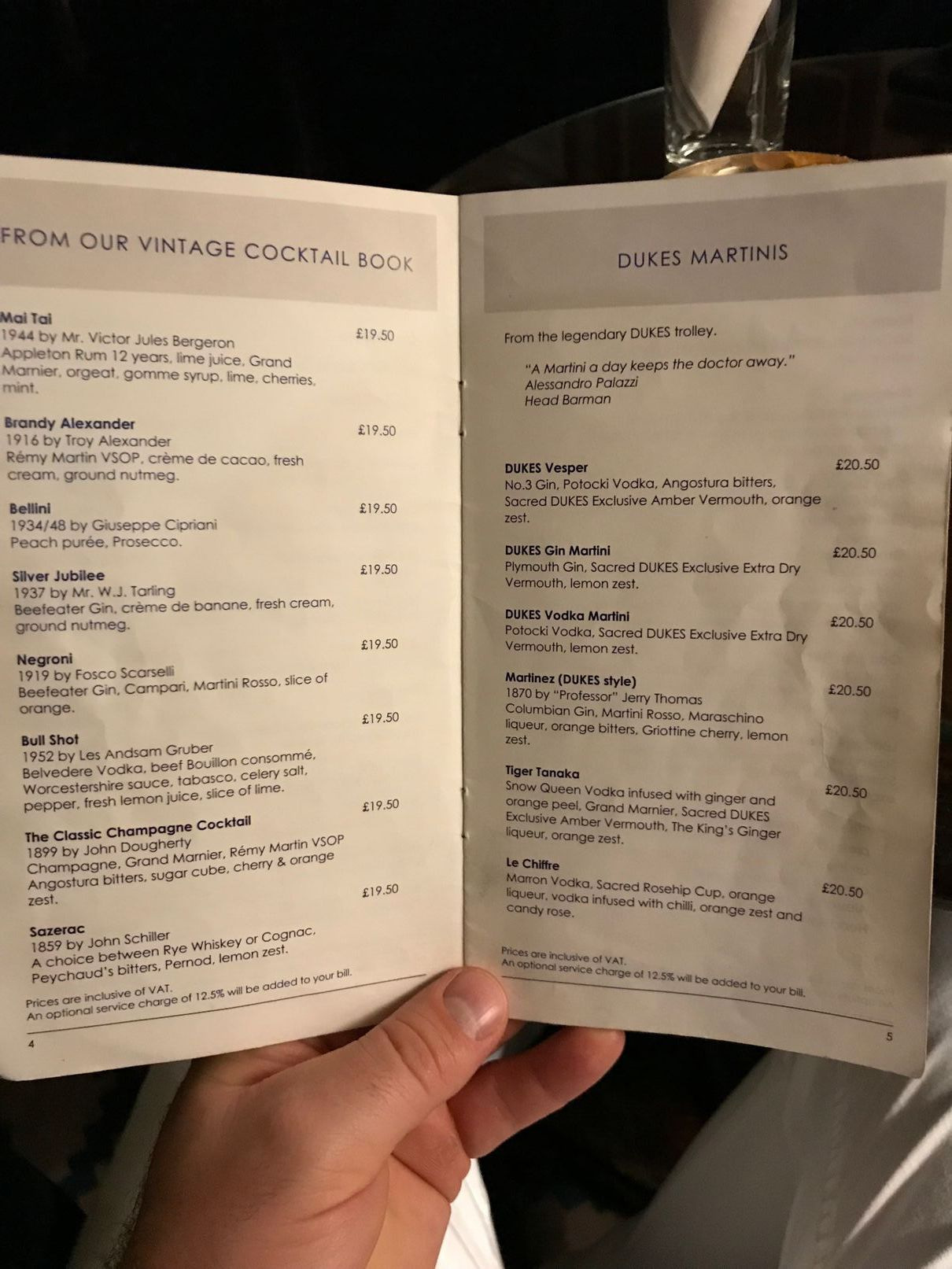 Martini menu at Dukes Bar London
