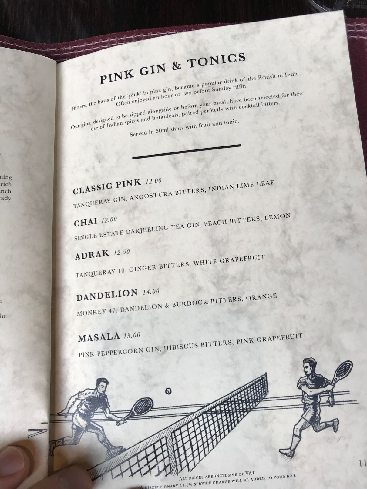 Pink Gin menu at Gymkhana London