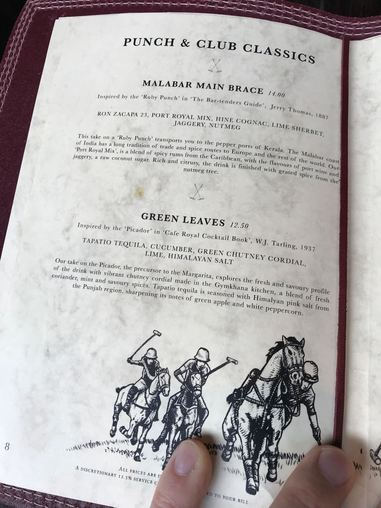cocktail menu at Gymkhana London