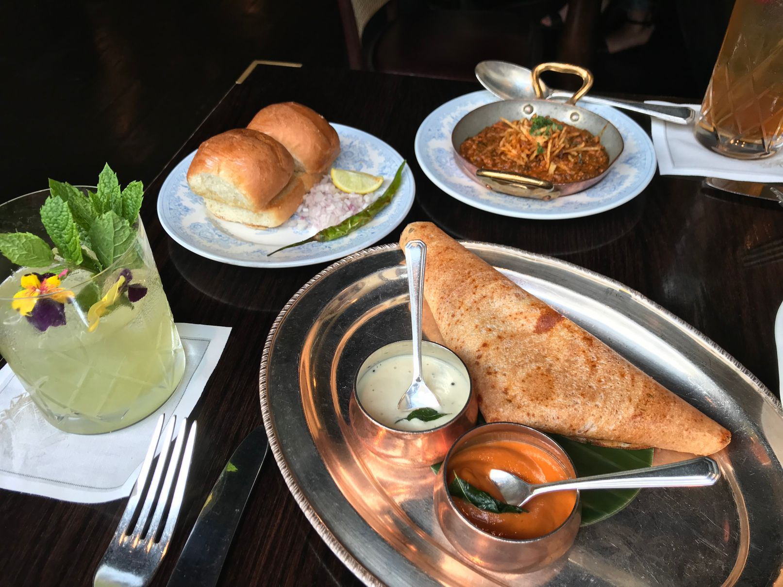 dosa and kid goat methi keema at Gymkhana -London