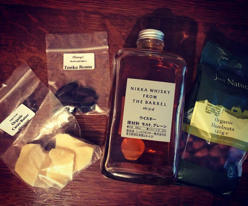 nikka whisky cocao tonka bean and hazlenut cocktail ingredients
