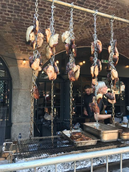 Pig cheeks hanging at Meatopia London
