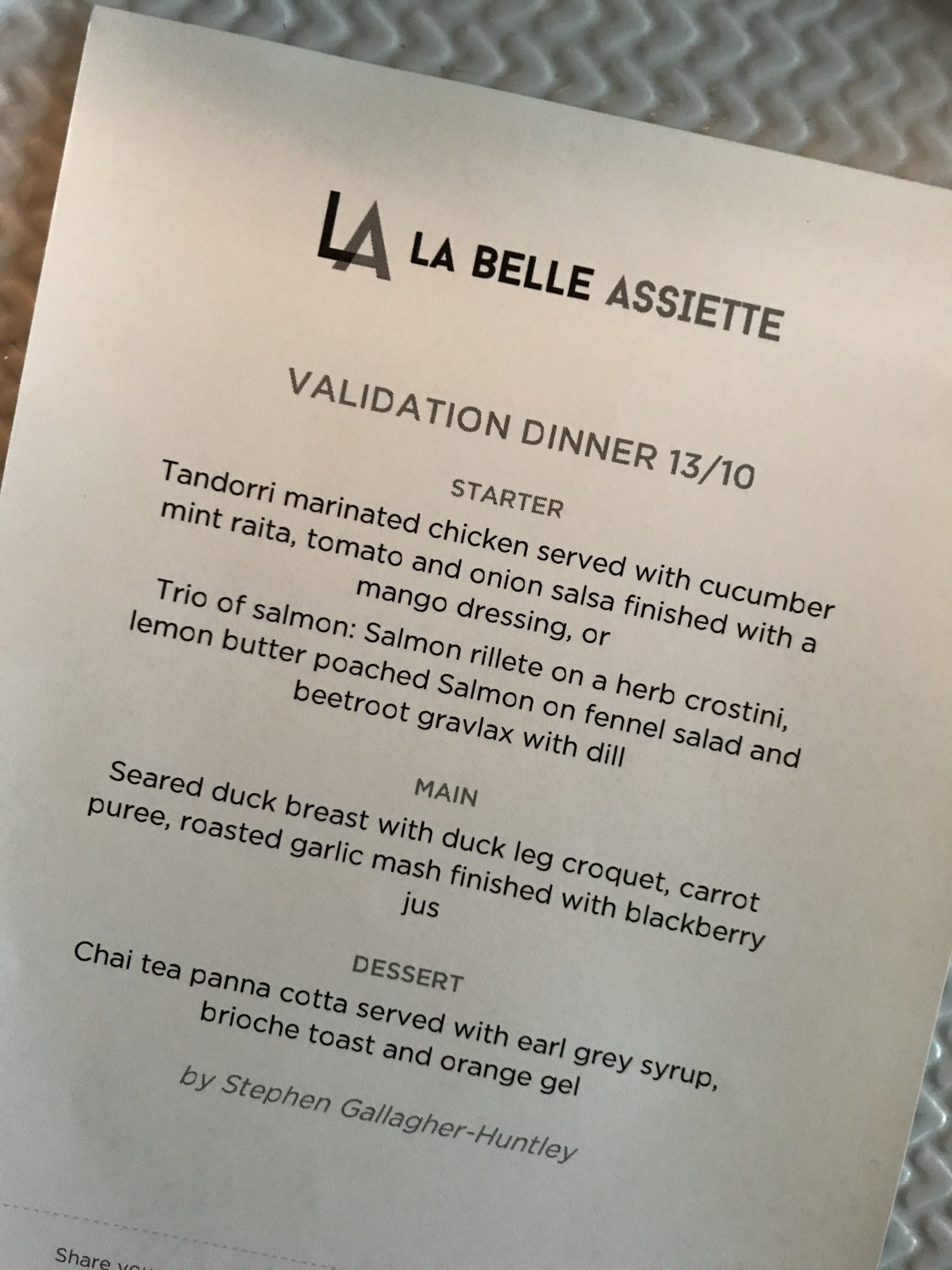 La Belle Assiette Private dinning menu for Cardiff