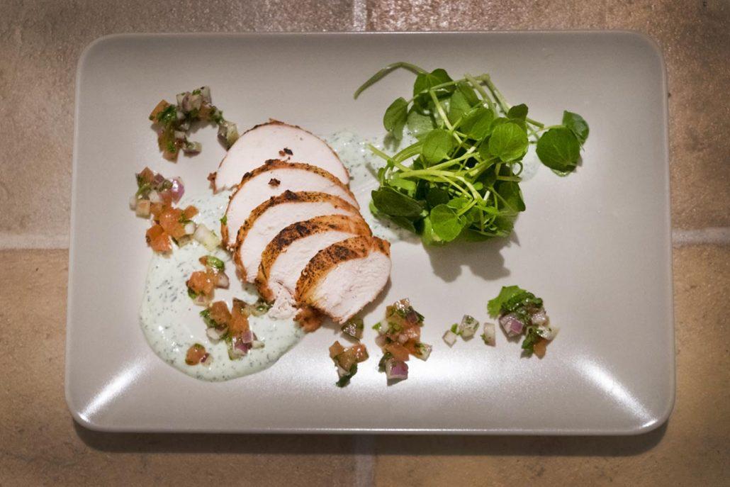Tandoori chicken starter for Cardiff Private chef night with La Belle Assiette