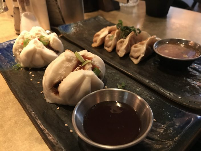 duck gyoza and pork steamed buns - The Alchemist Cardiff