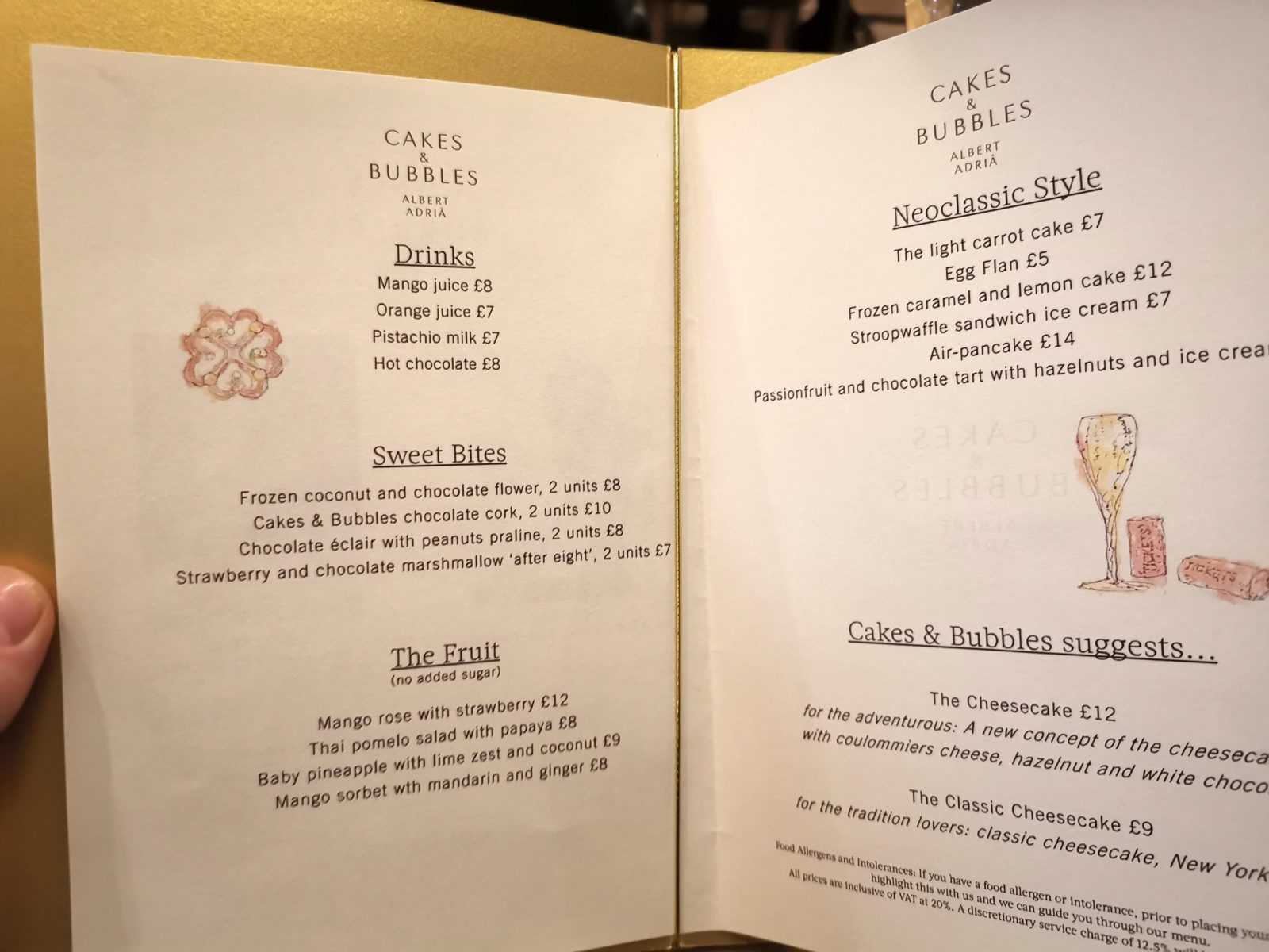 Albert Adria's Dessert Menu at Cakes and Bubbles - London