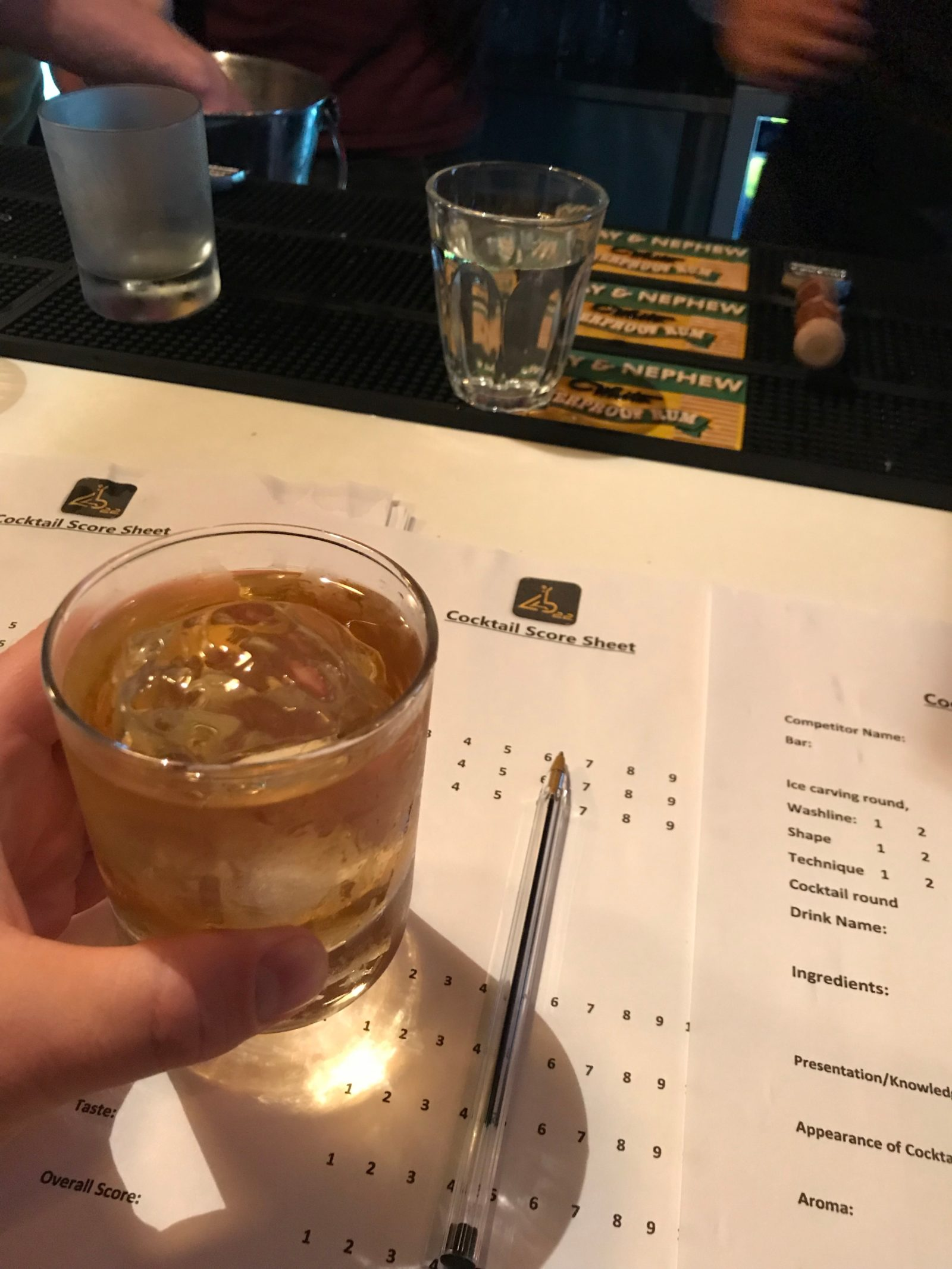 Nikka whisky and gin cocktail judging