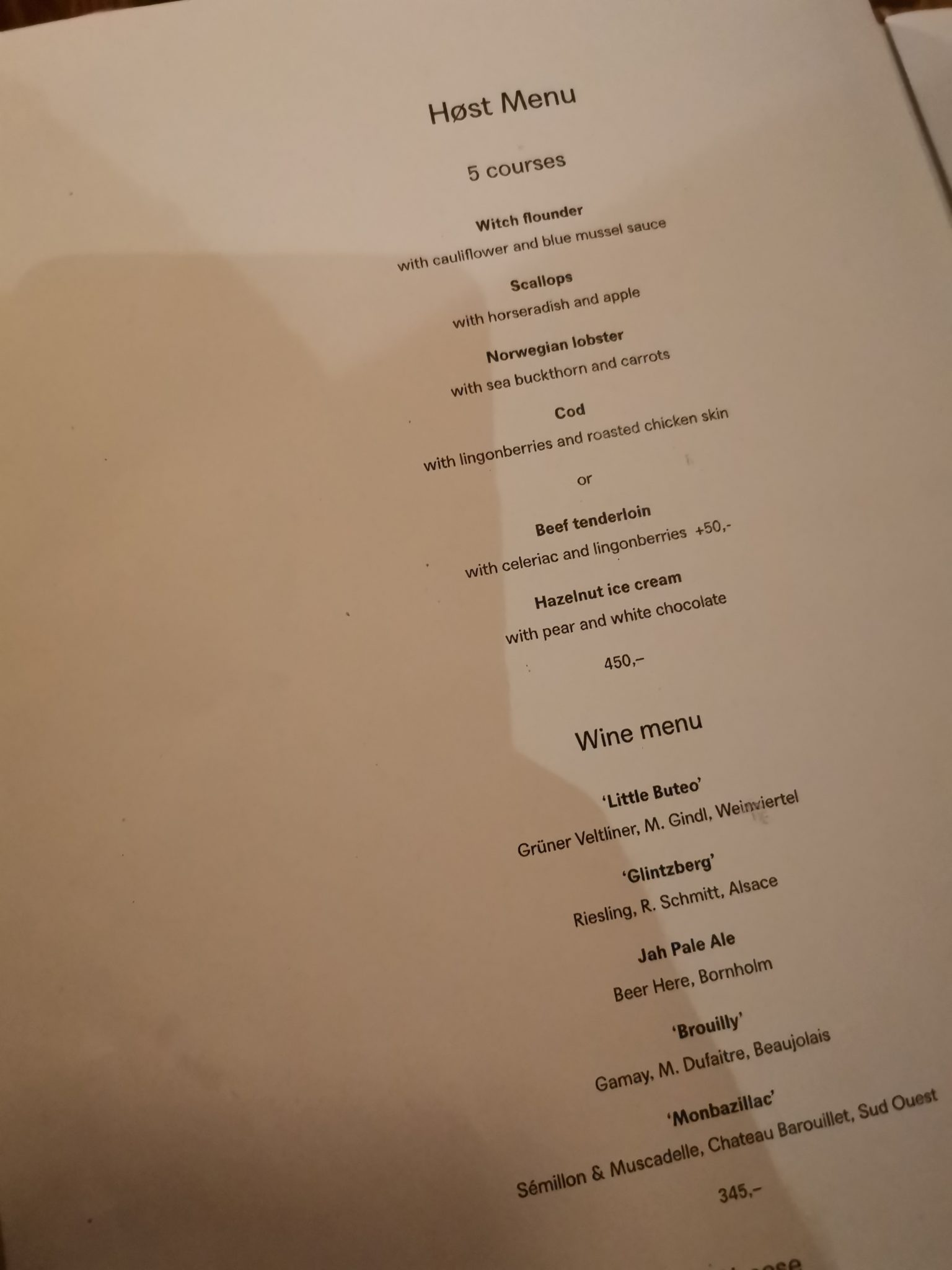 Tasting menu at Host Copenhagen