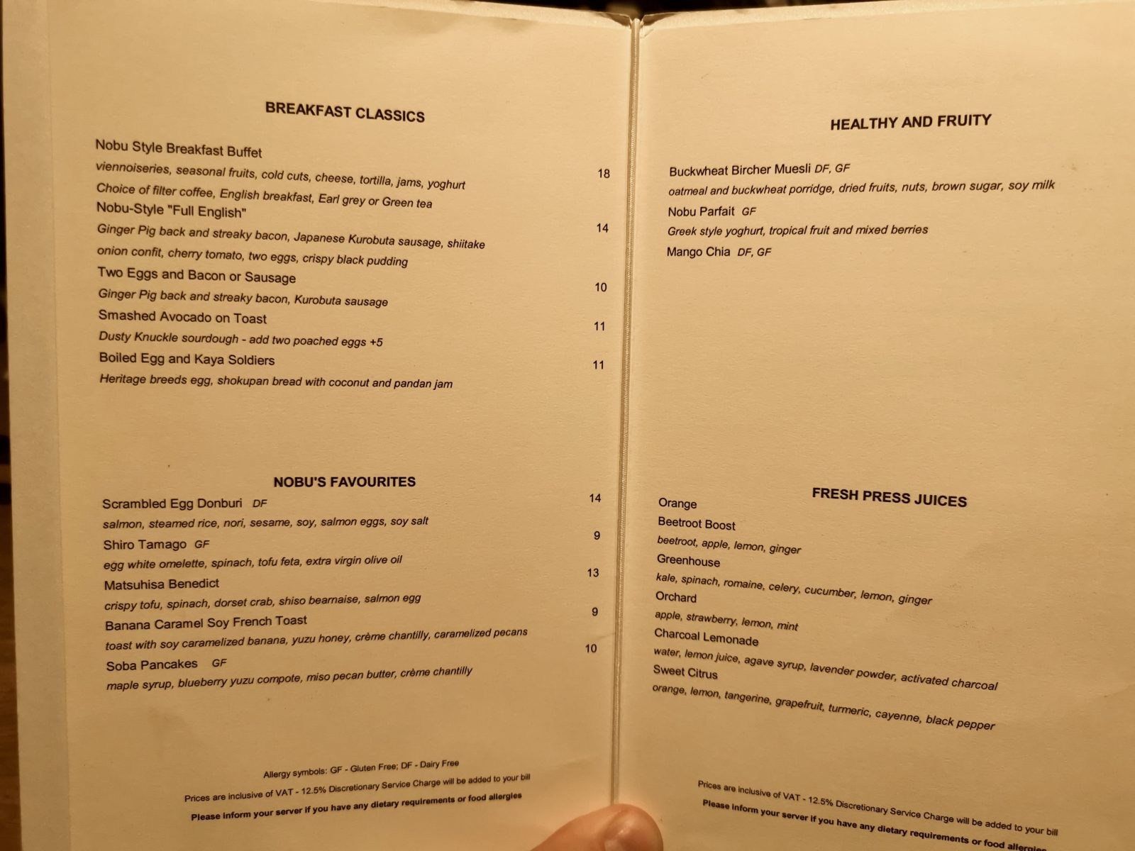 Breakfast menu at Nobu Hotel Shoreditch