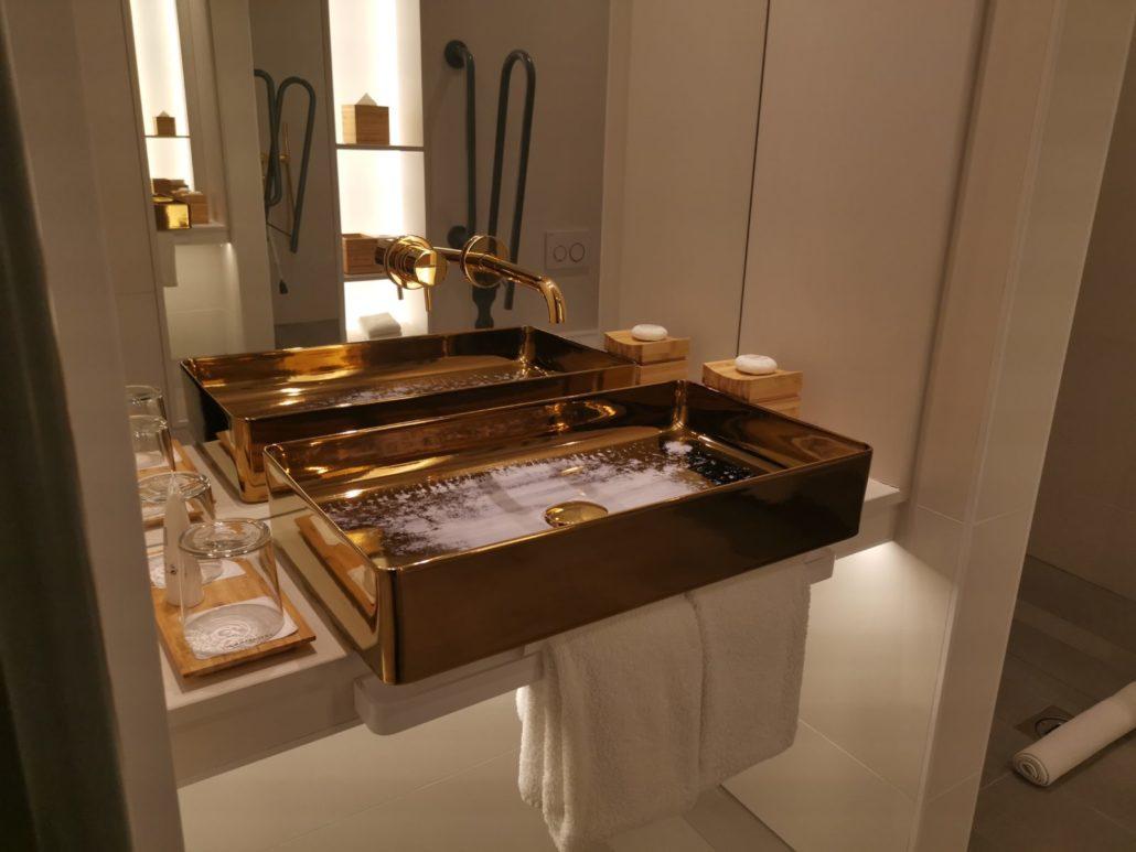 Gold bathroom sink at Nobu Hotel Shoreditch