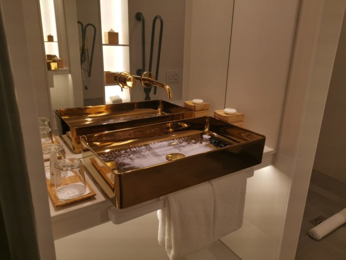 Gold bathroom sink at Nobu Hotel Shoreditch