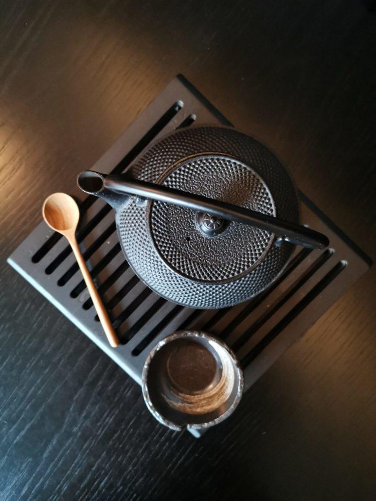 Japanese cast iron kettle at Nobu Hotel Shoreditch