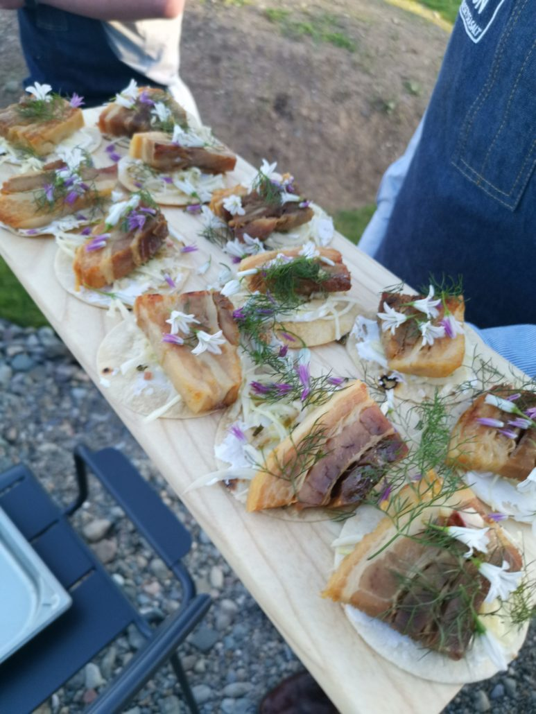 Pork canapés at tide restaurant launch - Anglesey