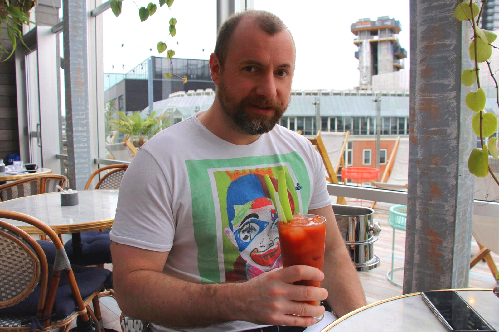 Me having a breakfast cocktail at The Curtain Shoreditch - London