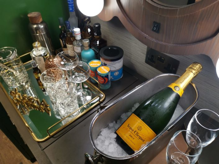 The Curtain London Hotel Shoreditch minibar with champagne