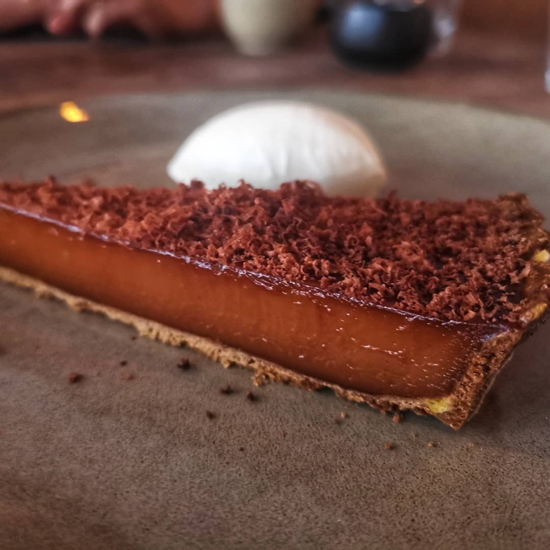 Cherry and salted caramel tart at St Leonards Shoreditch