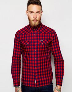 Wrangler Shirt Slim Fit Heritage Western Block Indigo Herringbone Check