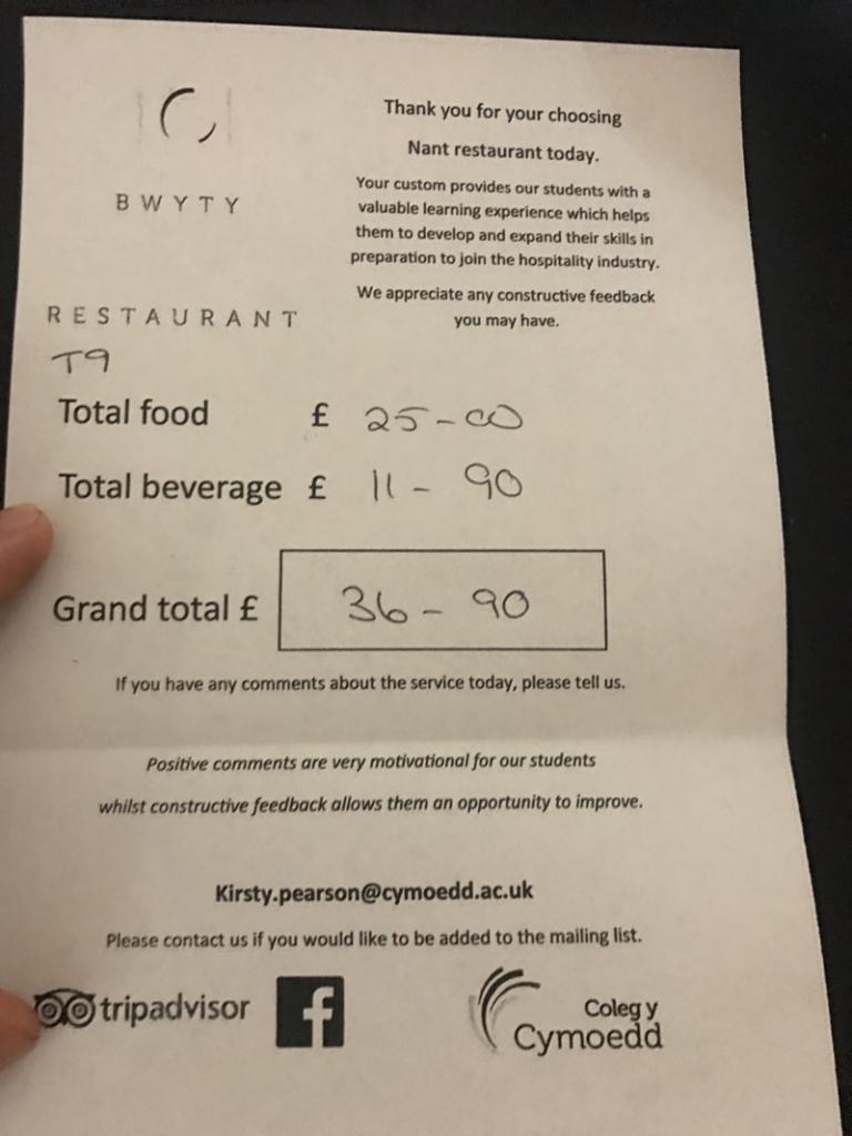 nant restaurant final bill