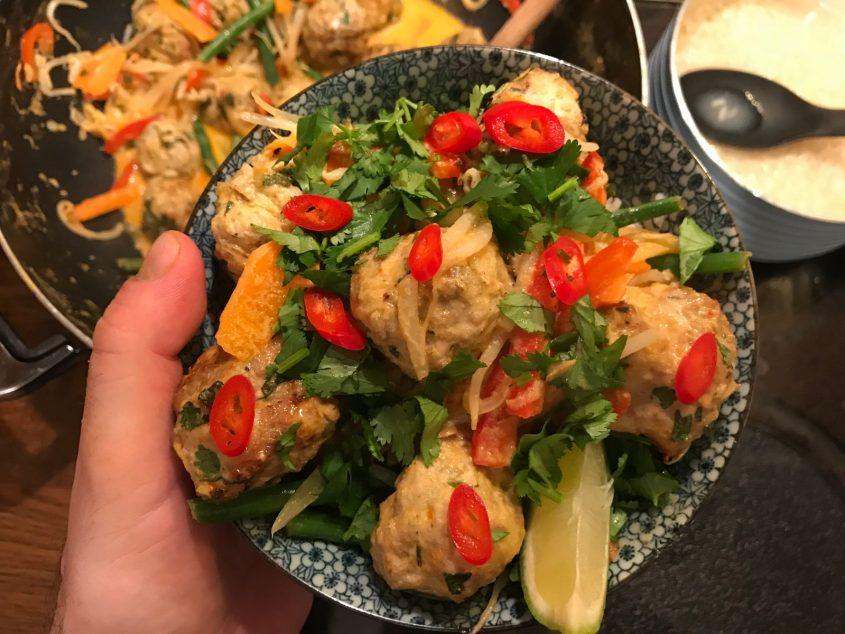 thai turkey and pork meatball curry