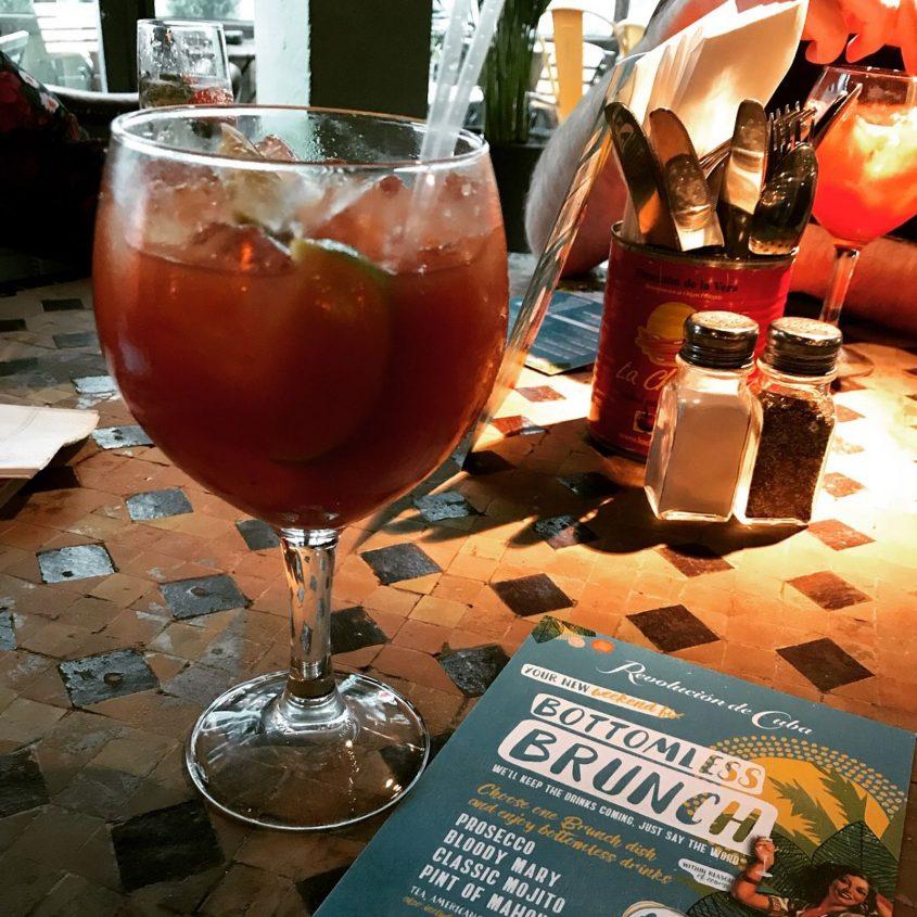 red snapper cocktail at revolution de cuba bottomless brunch cardiff