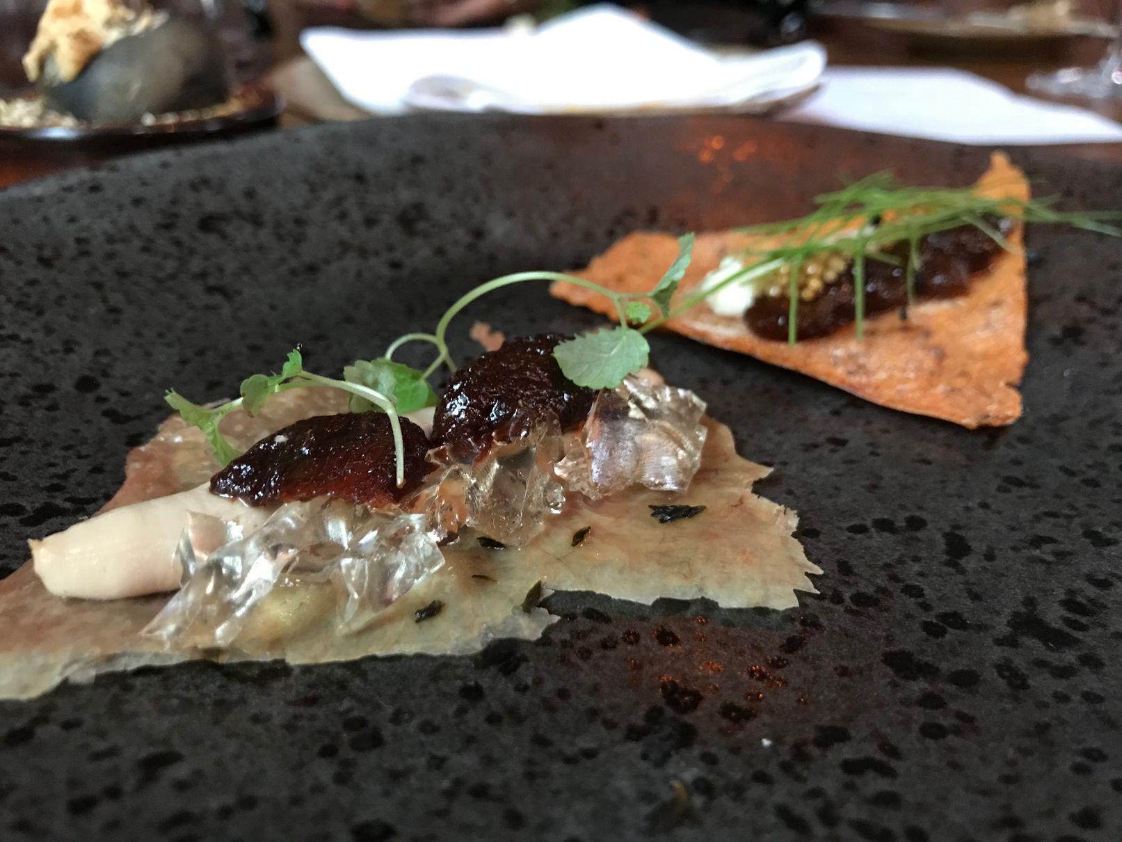 Tasting menu starters at Sosban Llanelli