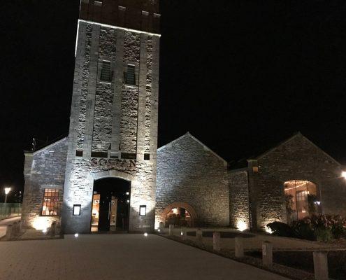 The Sosban restaurant in Llanelli at night