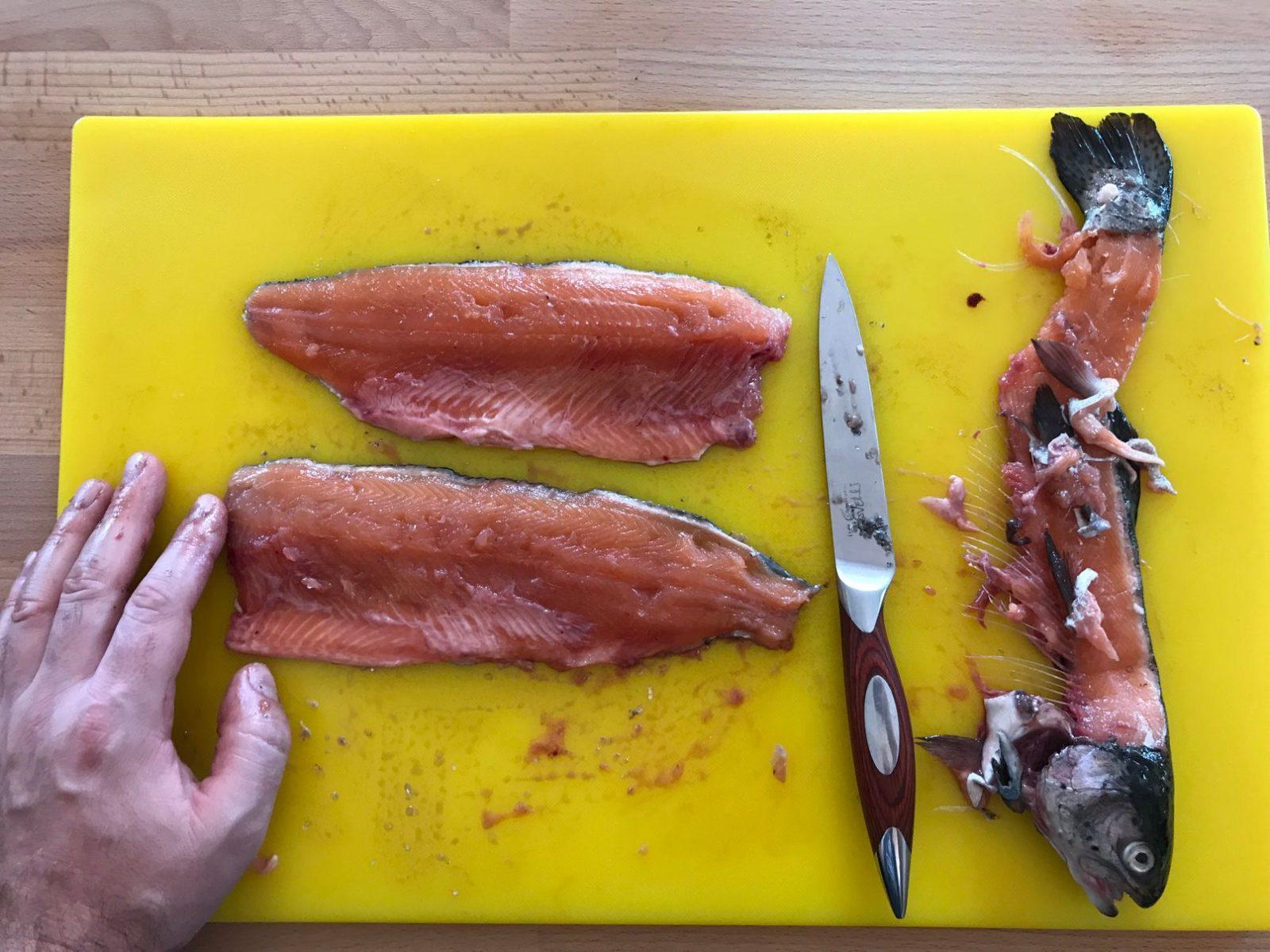 filleting fish at Corran Academy