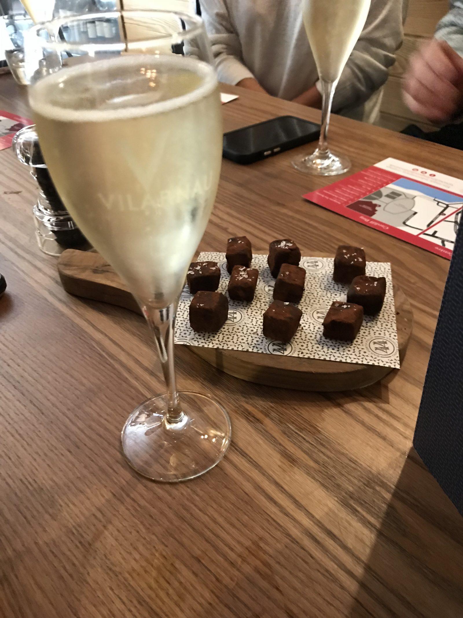 Cava and chocolate truffles - Bar 44 Cardiff