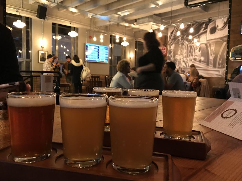 Beer flight at Head of Steam Cardiff