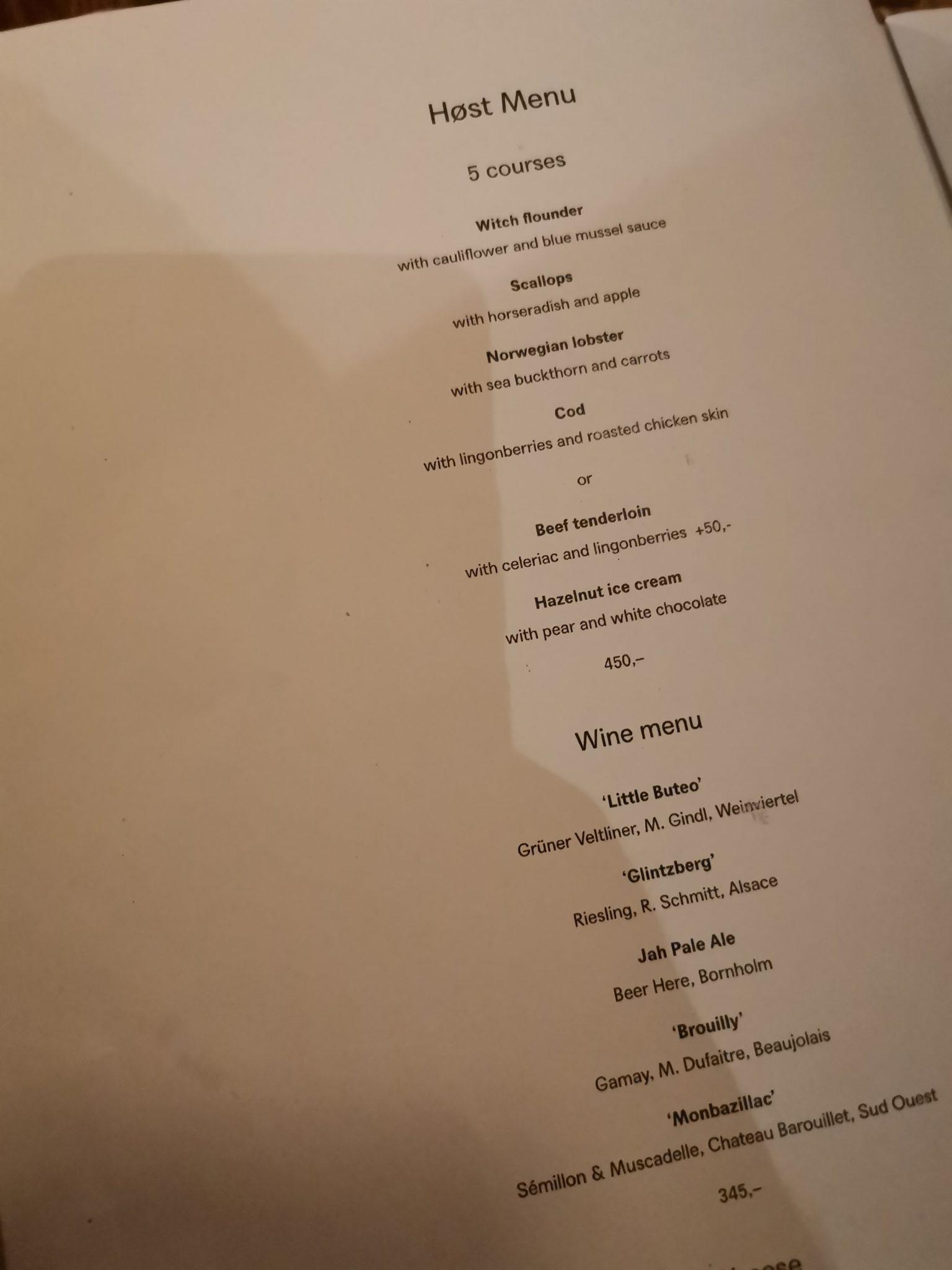 Tasting menu at Host Copenhagen