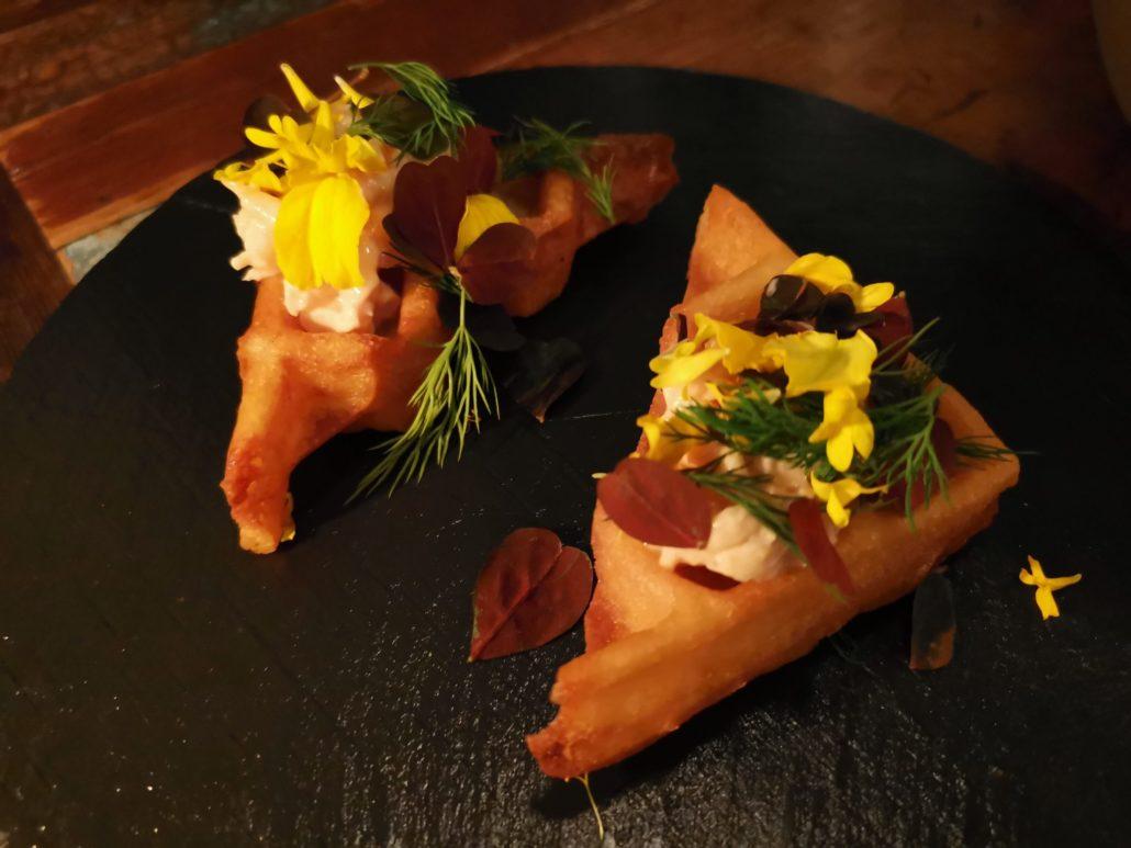 Shrimp and waffle dish at Host Restaurant Copenhagen